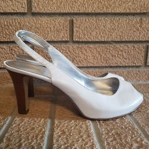 Marc Fisher Shoes High Heel White Peep Toe Size 9M